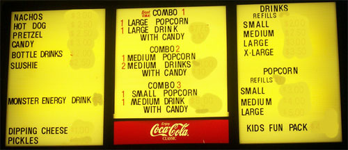 Cokes, candy, and popcorn